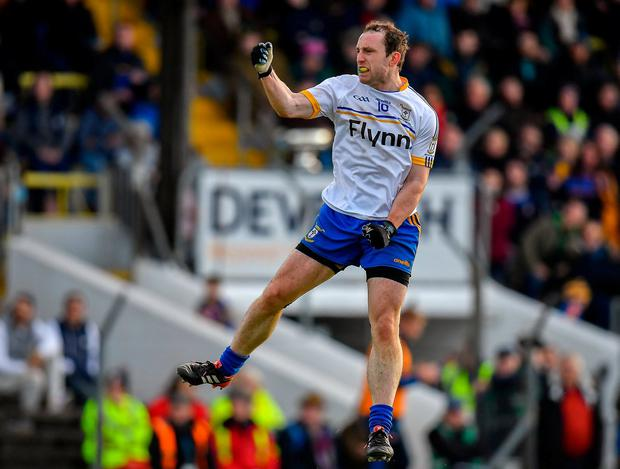 Ratoath's giant leap: Eamon Wallace leaps with delight after Ratoath secured victory in the Meath club SFC final. Photo: Seb Daly/Sportsfile