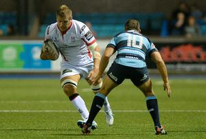 Chris Henry, Ulster, in action against Gareth Davies, Cardiff Blues