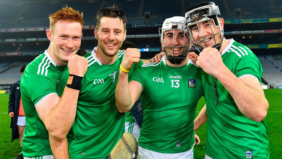 29 November 2020; Limerick players, from left, William O'Donoghue, Dan Morrissey, Aaron Gillane and Diarmaid Byrnes celebrate after the GAA Hurling All-Ireland Senior Championship Semi-Final match between Limerick and Galway at Croke Park in Dublin. Photo by Piaras Ó Mídheach/Sportsfile