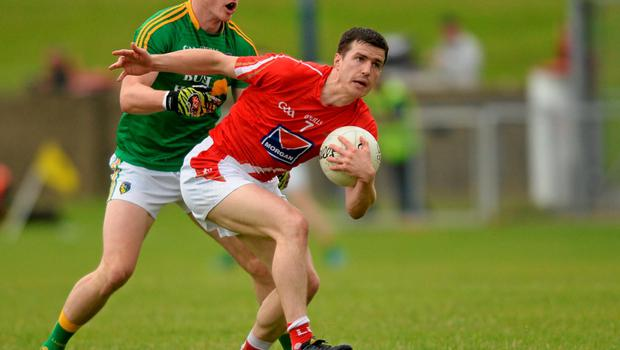 27 June 2015; Adrian Reid, Louth, in action against Paddy McGowan, Leitrim. GAA Football All-Ireland Senior Championship, Round 1B, Louth v Leitrim. County Grounds, Drogheda, Co. Louth. Picture credit: Piaras Ó Mídheach / SPORTSFILE