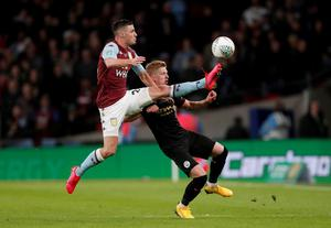 Aston Villa's Frederic Guilbert in action with Manchester City's Oleksandr Zinchenko. Photo: Matthew Childs/Action Images via Reuters