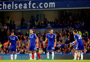 """(From left to right) The Chelsea defensive line of Radamel Falcao, Branislav Ivanovic, John Terry, Gary Cahill and Cesar Azpilicueta during the Barclays Premier League match at Stamford Bridge, London. PRESS ASSOCIATION Photo. Picture date: Saturday October 3, 2015. See PA story SOCCER Chelsea. Photo credit should read: Jed Leicester/PA Wire. RESTRICTIONS: EDITORIAL USE ONLY No use with unauthorised audio, video, data, fixture lists, club/league logos or """"live"""" services. Online in-match use limited to 45 images, no video emulation. No use in betting, games or single club/league/player publications."""