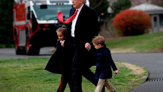 U.S. President Donald Trump departs the White House with his grandchildren Arabella (L) and Joseph (R) on March 3, 2017 in Washington, DC. Trump was scheduled to fly to Florida where he will spend the weekend.  (Photo by Win McNamee/Getty Images)