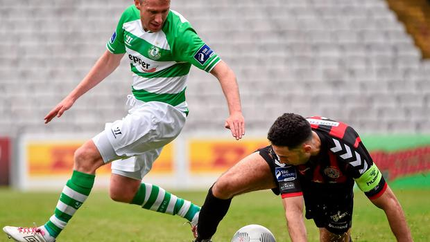 Bohemians' Roberto Lopes in action against Pat Cregg of Shamrock Rovers