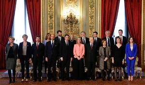 Newly appointed Italian Prime Minister Matteo Renzi (front row, 5th L) poses with President Giorgio Napolitano (first row, 4th R) and other new ministers during a swearing-in ceremony at Quirinale Palace in Rome