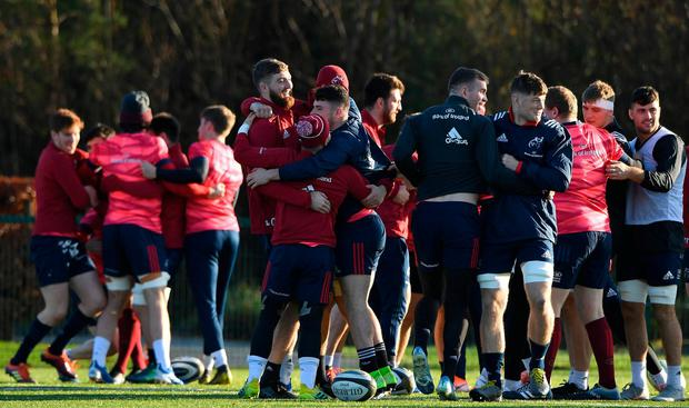 Munster players during a squad training session at the University of Limerick. Photo: Matt Browne/Sportsfile
