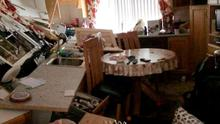 Bernie Kearney's kitchen was destroyed when her car was pushed through the side of her house. Photo: Joe Boland