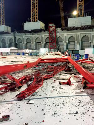 A construction crane is seen collapsed over the Grand Mosque, in Mecca, Saudi Arabia, early Saturday morning(AP Photo)