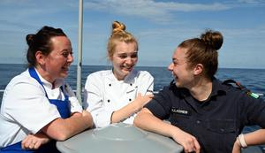 Quick-fire meals: PO Aileen Hanna, Able Cook Alex Pluchart and Able Supply Zoe Gallagher on deck. Photo by David Jones