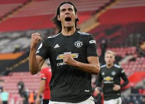 Shout to the top: Edinson Cavani, here celebrating his equaliser against Southampton in November, has proven a big hit – on and off the pitch at Old Trafford. Photo: Reuters