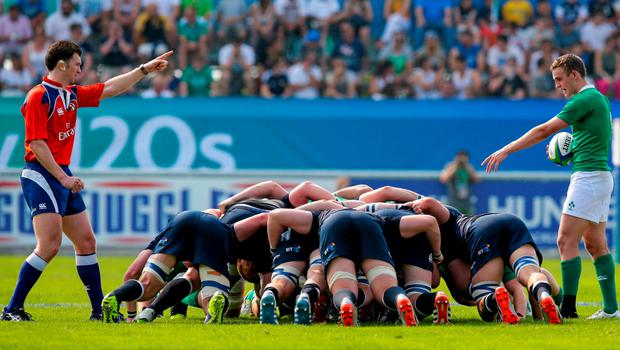 6 June 2015; A scrum is set before Ireland's Nick McCarthy, right, introduces the ball. World Rugby U20 Championship Pool C, Ireland v Scotland. Calvisano, Italy. Picture credit: Roberto Bregani / SPORTSFILE