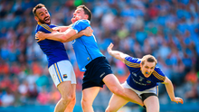 Paddy Andrews of Dublin in action against Diarmuid Masterson, left, and Patrick Fox of Longford during the Leinster GAA Football Senior Championship Semi-Final match between Dublin and Longford at Croke Park in Dublin. Photo: Sportsfile
