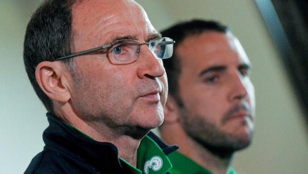 12 June 2015; Republic of Ireland manager Martin O'Neill and John O'Shea during a press conference. Republic of Ireland Press Conference, Radisson Hotel, Dublin Airport, Co. Dublin. Picture credit: David Maher / SPORTSFILE
