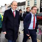 Fine Fail Leader Micheal Martin and Jame Lawless TD canvassing on Main Street Naas. Pic Steve Humphreys 29th January 2020