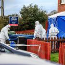 Gardaí remove Mr Doyle's remains from the house in Ramsgate, Gorey, Co Wexford. Photo: Mark Condren