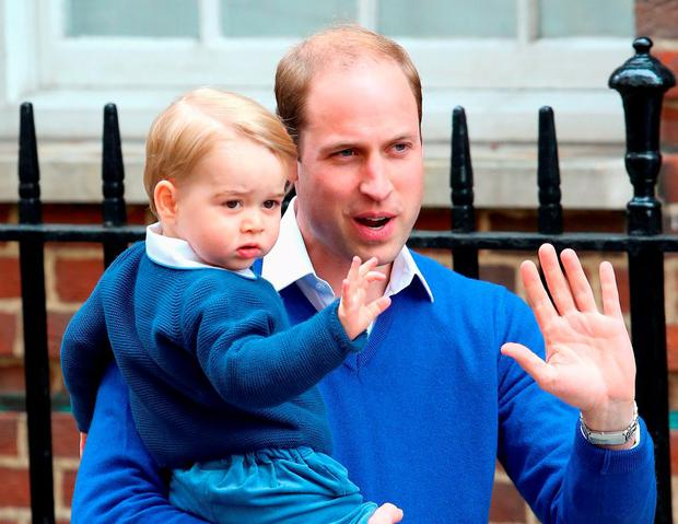 Prince William, Duke of Cambridge and Prince George of Cambridge arrive at the Lindo Wing after Catherine, Duchess of Cambridge gave birth to a baby girl at St Mary's Hospital on May 2, 2015 in London, England.  (Photo by Chris Jackson/Getty Images)