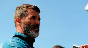 Republic of Ireland assistant manager Roy Keane during a pitchside update. Gannon Park, Malahide, Co. Dublin