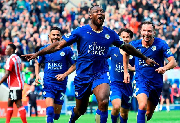 Wes Morgan celebrates after heading home the winner for Leicester City against Southampton at the King Power Stadium. Photo: Getty