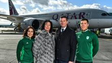 From left, hockey player Anna O'Flanagan, Team Ireland Chef de Mission Tricia Hebrele, Olympic Federation of Ireland CEO Peter Sherrard and swimmer Darragh Greene. Sherrard is confident that the 2020 Olympics will take place despite the outbreak of the coronavirus. Photo by Brendan Moran/Sportsfile