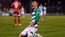 Shamrock Rovers' Graham Burke celebrates after scoring the fourth of his five goals against Cork City at Tallaght Stadium. Photo: Stephen McCarthy/Sportsfile