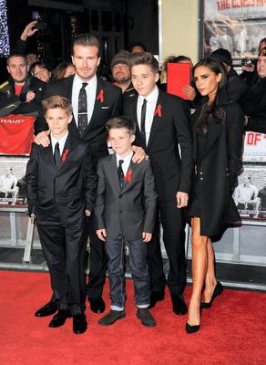 David and Victoria Beckham with their children Romeo, Cruz and Brooklyn attend the world premiere of 'The Class of 92' in London