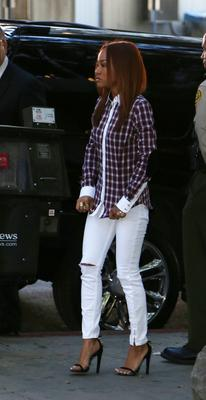 LOS ANGELES, CA - FEBRUARY 03:  Karrueche Tran, recording artist Chris Brown's girlfriend, enters the Los Angeles Courthouse on February 3, 2014 in Los Angeles, California.  Brown has been on probation since pleading guilty to assaulting his then girlfriend, singer Rihanna, after a pre-Grammy Awards party in 2009. He has been in anger management treatment program and performing community service requirements but failure to meet probation requirements could be even further complicated by assault charges he and bodyguard Christopher Hollosy face stemming from an incident outside the W hotel in Washington D.C. last October.  (Photo by Frederick M. Brown/Getty Images)