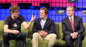 04/11/2014 (L to R) Web Summit Co Founder Paddy Cosgrave,Adam Kostyál, Senior Vice President, Nasdaq Listing Services & Taoiseach Enda Kenny TD where the The NASDAQ was opened on the Web Summit Centre Stage during the Web Summit at the RDS, Dublin. Photo: Gareth Chaney Collins