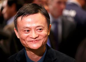 Alibaba's founder Jack Ma at the New York Stock Exchange before his company's initial public offering