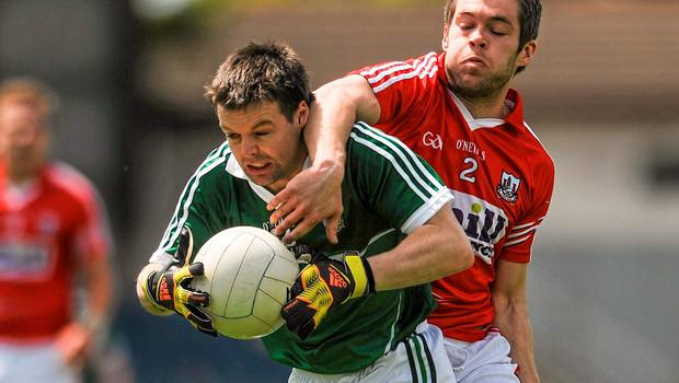Jimmy Barry Murphy, Limerick, in action against A.J O Connor, Cork