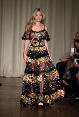 LONDON, ENGLAND - SEPTEMBER 13:  Georgia May Jagger walks the runway at the Marchesa show during London Fashion Week Spring Summer 2015 at  on September 13, 2014 in London, England.  (Photo by Mike Marsland/WireImage)