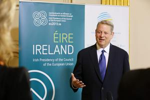 Former Vice President Al Gore is pictured today arriving at Dublin Castle