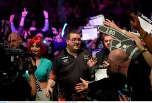 26 March 2015; Stephen Bunting competes against Gary Anderson during the Betway Premier League Darts at the 3Arena, Dublin. Picture credit: Stephen McCarthy / SPORTSFILE