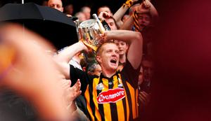 Kilkenny captain Henry Shefflin lifts the Liam MacCarthy Cup after victory over Limerick in the 2007 All-Ireland