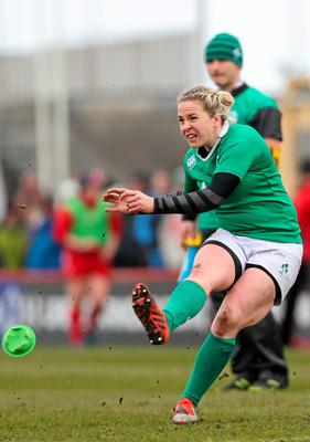 Ireland's Niamh Briggs kicks a penalty to extend her side's lead
