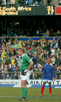 Alan Quinlan after Ireland's defeat in 2004 in Bloemfontein Picture: SPORTSFILE