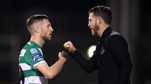 Shamrock Rovers manager Stephen Bradley and Jack Byrne celebrate after the 6-1 win over Waterford. Photo by Stephen McCarthy/Sportsfile