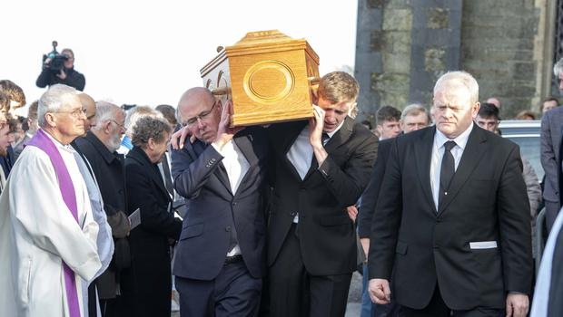 Farewell: The remains of Cameron Blair are carried from St Mary's Church, Bandon. Photo: Michael Mac Sweeney/Provision