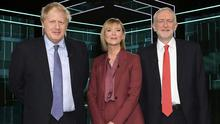 Boris Johnson, Julie Etchingham and Jeremy Corbyn in the studio prior to Election head-to-head debate on ITV Photo credit: ITV/PA Wire