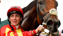 Jockey Wayne Lordan after he rode Iridessa to victory in the Pretty Polly Stakes during day two of the Irish Derby Festival at The Curragh. Photo: Sportsfile
