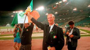 Jack Charlton waves to the supporters following Ireland's defeat to Italy in the FIFA World Cup 1990 Quarter-Final at the Stadio Olimpico in Rome, Italy. Photo: Ray McManus/Sportsfile