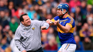 Wexford manager Davy Fitzgerald and Jason Forde of Tipperary clash during their NHL Division 1 semi-final last year. Photo: Sportsfile