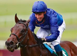 Pinatubo ridden by William Buick wins the Goffs Vincent O'Brien National Stakes during day two of the Longines Irish Champions Weekend at Curragh Racecourse, Co. Kildare. Photo: Niall Carson/PA Wire