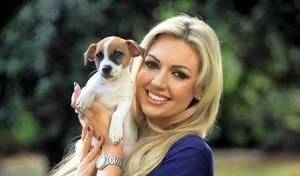 ISPCA Ambassador Rosanna Davison with Jack a pug Cross puppy born in the ISPCA National Animal Centre at the launch World Animal Week for the ISPCA in St. Stephens Green Dublin. Photo: Gareth Chaney Collins