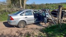 The driver of the car failed to crash through a farm gate