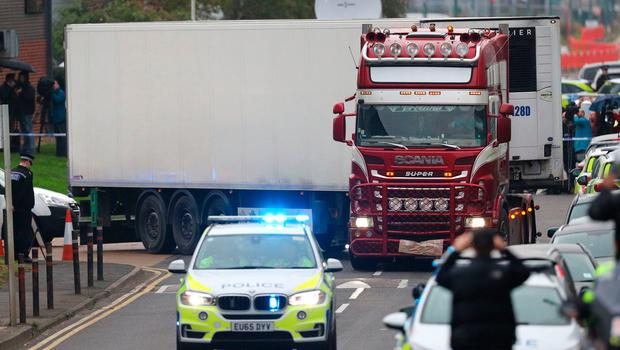 The container lorry in which 39 people were found dead in Essex. Photo: Aaron Chown/PA Wire