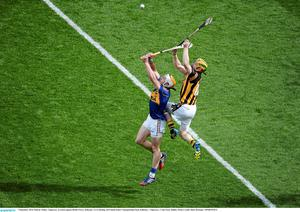 7 September 2014; Pádraic Maher, Tipperary, in action against Richie Power, Kilkenny. GAA Hurling All Ireland Senior Championship Final, Kilkenny v Tipperary. Croke Park, Dublin. Picture credit: Dáire Brennan / SPORTSFILE