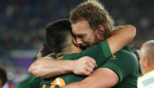 Munster's Springboks Damian De Allende and RG Snyman. Photo: Cameron Spencer/Getty Images