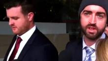 Barry Lyttle (left) with his brother Patrick outside the courthouse in Australia