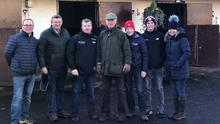 Joe Foley of Ballyhane Stud, Gigginstown House Stud racing manager Eddie O'Leary, rival trainers Gordon Elliott and Willie Mullins, former champion flat jockey Pat Smullen, Jack O'Leary, son of Eddie, and Wendy O'Leary, wife of Eddie, at Closutton last December