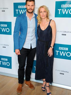 Jamie Dornan and Gillian Anderson attend the screening of BBC Two drama 'The Fall' to launch series three at BFI Southbank on September 7, 2016 in London, England.  (Photo by Eamonn M. McCormack/Getty Images)